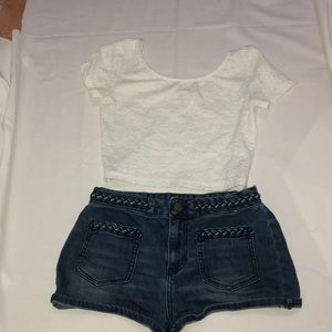 H&M white top and blue denim shorts